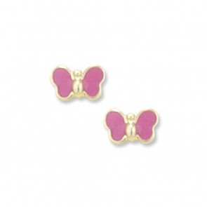 Childrens 9ct Gold Pink Butterfly Stud Earrings