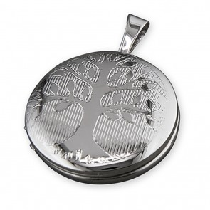 Children's Sterling Silver Tree Of Life Pattern Round Locket On A Curb Necklace