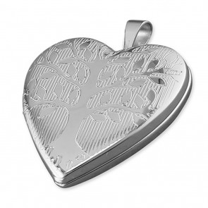 Children's Sterling Silver Tree Of Life Pattern Heart Locket On A Curb Necklace