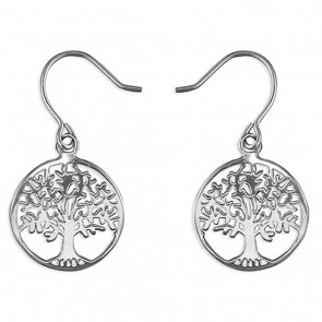 Sterling Silver Tree of Life circle drop Earrings