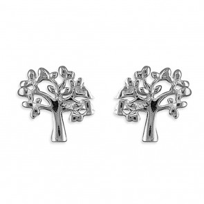 Sterling Silver Small Tree-Of-Life Stud Earrings