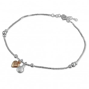 Sterling Silver With Rose Gold-Plated Heart Ladybird Anklet