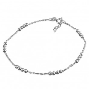 Sterling Silver Diamond-Cut Bead Anklet