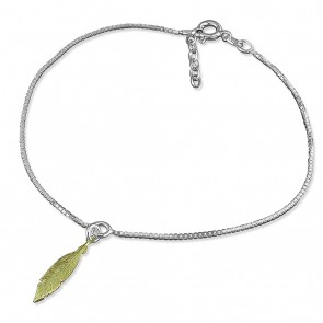 Sterling  Silver With Yellow Gold-Plated Feather Anklet
