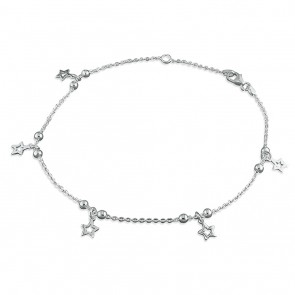 Sterling Silver Beads And Stars Anklet