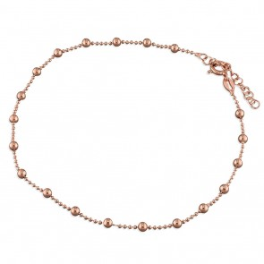 Rose Gold-Plated Plain Bead Anklet