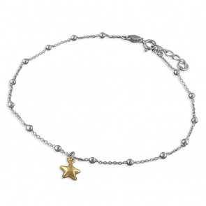 Sterling  Silver With Yellow Gold-Plated Star Anklet