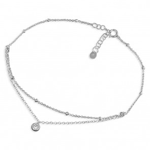 Sterling Silver With Cubic Zirconia Anklet