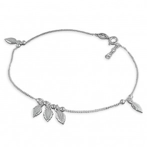 Sterling Silver 5-Leaf And Bead Anklet
