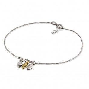 Sterling  Silver With Yellow Gold-Plated Triple Leaf Anklet