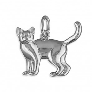 Men's Solid Sterling Silver Cat Pendant On A Black Leather Cord Necklace
