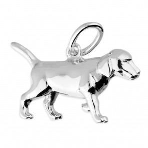 Men's Solid Sterling Silver Labrador Pendant On A Black Leather Cord Necklace