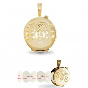 Children's 9ct Gold Engraved Medical Emergency Awareness SOS Pendant On A Prince of Wales Necklace