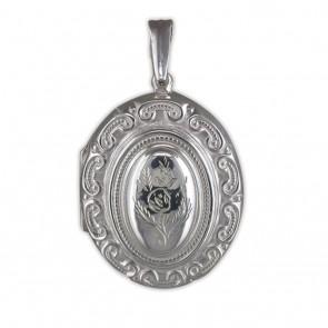 Sterling Silver Large Ornate Victorian Oval Locket