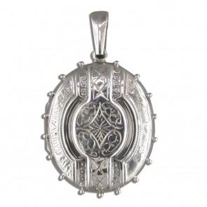 Sterling Silver Large Fancy Victorian Oval Locket