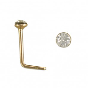 9ct Gold 2mm Cupped Clear Crystal Nose Stud