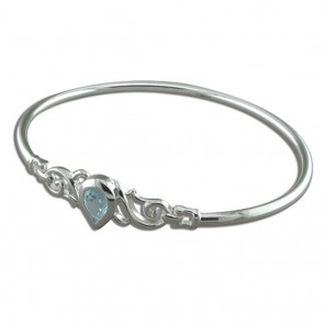 Sterling Silver Blue Topaz Teardrop Topaz Fancy Swirls Bangle
