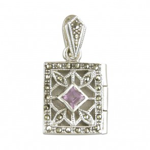 Children's Sterling Silver Amethyst & Marcasite Oblong Book Locket On A Curb Necklace