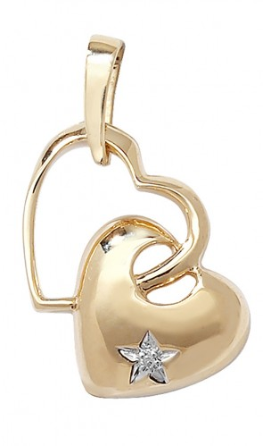 9ct Gold 0.003ct Diamond Set Double Heart Pendant On A Belcher Necklace