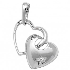 9ct White Gold 0.003ct Diamond Set Double Heart Necklace