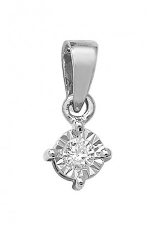 9ct White Gold 0.06ct Illusion Set Diamond Pendant On A Belcher Necklace