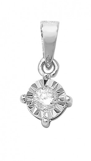 9ct White Gold 0.1ct Illusion Set Diamond Pendant On A Belcher Necklace