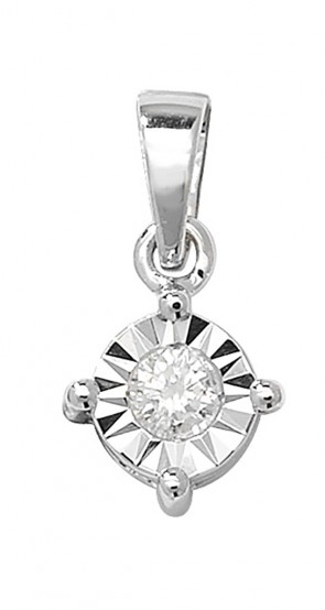 Children's 9ct White Gold 0.13ct Illusion Set Diamond Pendant On A Prince of Wales Necklace