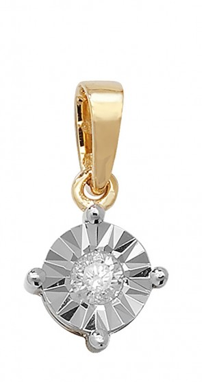 9ct Gold 0.15ct Illusion Set Diamond Pendant On A Belcher Necklace