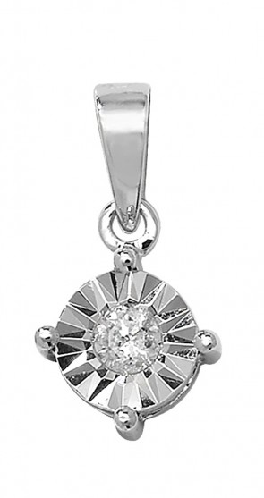 Children's 9ct White Gold 0.15ct Illusion Set Diamond Pendant On A Prince of Wales Necklace