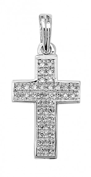 Children's 9ct White Gold 0.1ct Pave Set Diamond Cross Pendant On A Prince of Wales Necklace