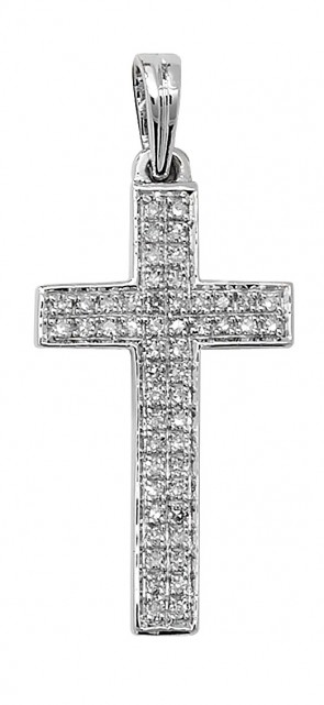 Men's 9ct White Gold 0.16ct Pave Set Diamond Cross Pendant On A Curb Necklace