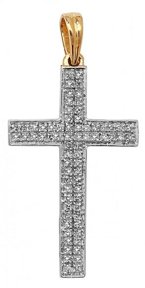 Men's 9ct Gold 0.26ct Pave Set Diamond Cross Pendant On A Curb Necklace