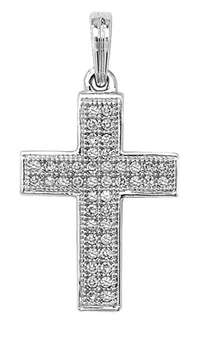 Men's 9ct White Gold 0.11ct Pave Set Diamond Cross Pendant On A Curb Necklace