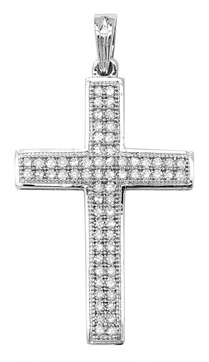 Men's 9ct White Gold 0.25ct Pave Set Diamond Cross Pendant On A Curb Necklace