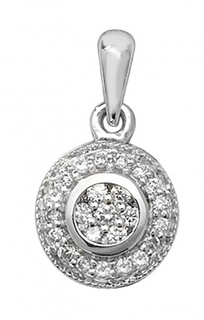 9ct White Gold 0.1ct Diamond Pendant On A Belcher Necklace