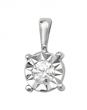 Children's 9ct White Gold 0.1ct Illusion Set Diamond Pendant On A Prince of Wales Necklace