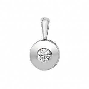 Children's 9ct White Gold 0.1ct Rubover Diamond Pendant On A Prince of Wales Necklace