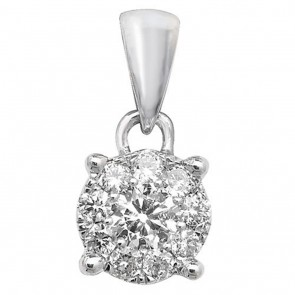 Children's 9ct White Gold 0.2ct Diamond Pendant On A Prince of Wales Necklace