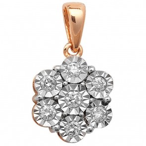 Children's 9ct Gold 0.25ct Illusion Set Diamond Pendant On A Prince of Wales Necklace