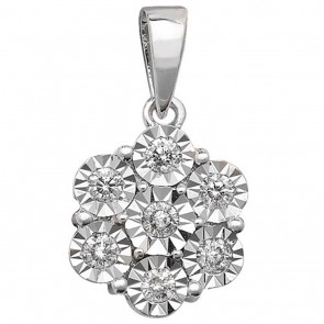 9ct White Gold 0.25ct Illusion Set Diamond Pendant On A Belcher Necklace
