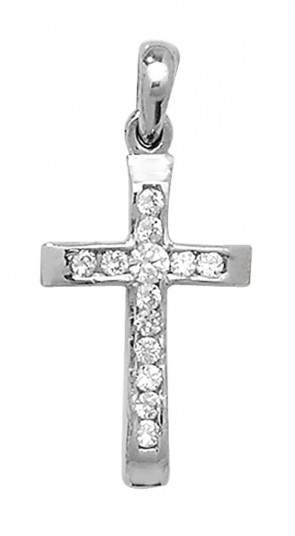 9ct White Gold Cubic Zirconia Cross Necklace