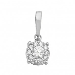 Men's 9ct White Gold Cubic Zirconia Round Pendant On A Curb Necklace