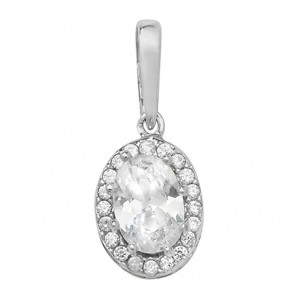 Men's 9ct White Gold Cubic Zirconia Oval Pendant On A Curb Necklace