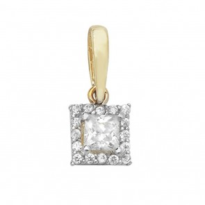 Children's 9ct Gold Cubic Zirconia Small Square Pendant On A Prince of Wales Necklace