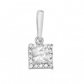 Children's 9ct White Gold Cubic Zirconia Small Square Pendant On A Prince of Wales Necklace