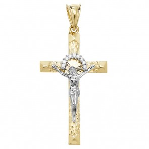 Men's 9ct Yellow and White Gold Cubic Zirconia Crucifix Pendant On A Curb Necklace