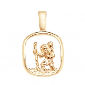 Men's 9ct Gold Open Cut Out St Christopher Pendant On A Curb Necklace