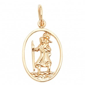 Children's 9ct Gold Open Oval St Christopher Pendant On A Prince of Wales Necklace