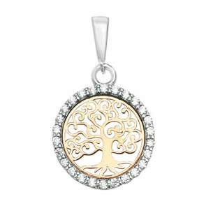Men's 9ct Yellow and White Gold Cubic Zirconia 14mm Round Tree Of Life Pendant On A Curb Necklace