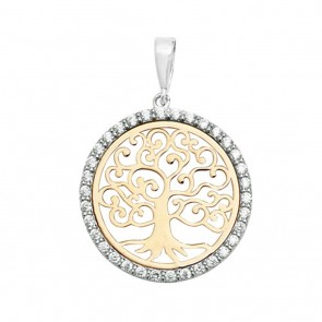 Children's 9ct Yellow and White Gold Cubic Zirconia 20mm Round Tree Of Life Pendant On A Prince of Wales Necklace